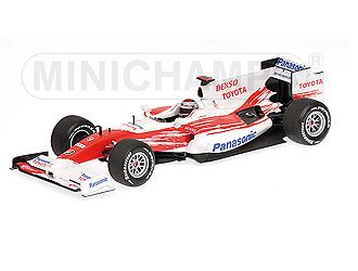 This Toyota TF109 (Jarno Trulli - Showcar 2009) Diecast Model Car is Red and White. It is made by Minichamps and is 1:43 scale (approx. 10cm / 3.9in long).  ...