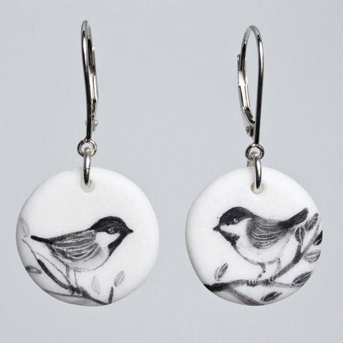 Porcelain earrings by Elizabeth Burritt (Medicine Hat, AB). Member of the Alberta Craft Council