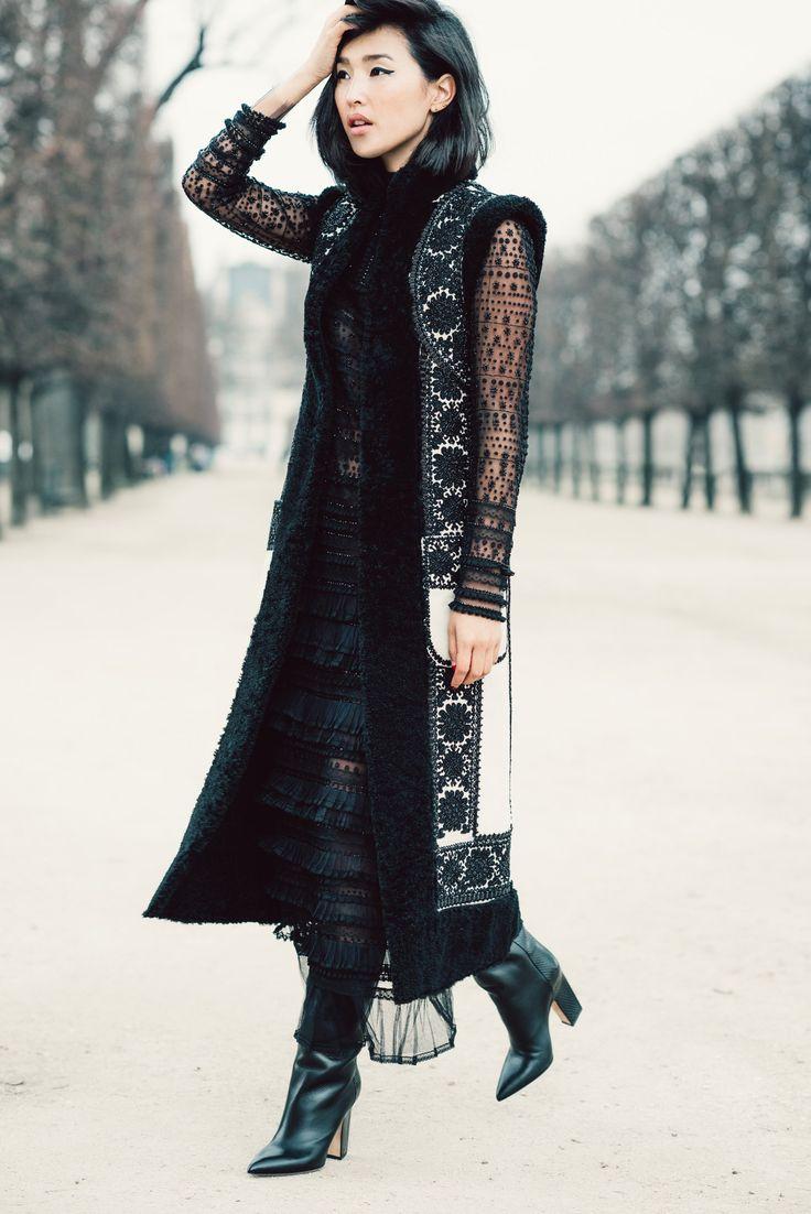 Nicole Warne wears a lacy Valentino look