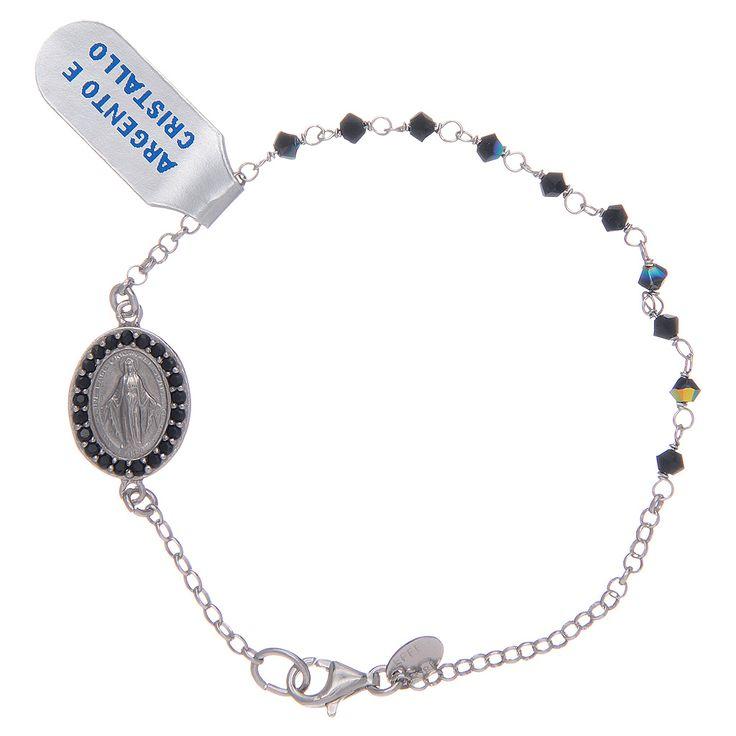 Pulsera Medalla Virgen Milagrosa circones negros en plata | venta online en HOLYART