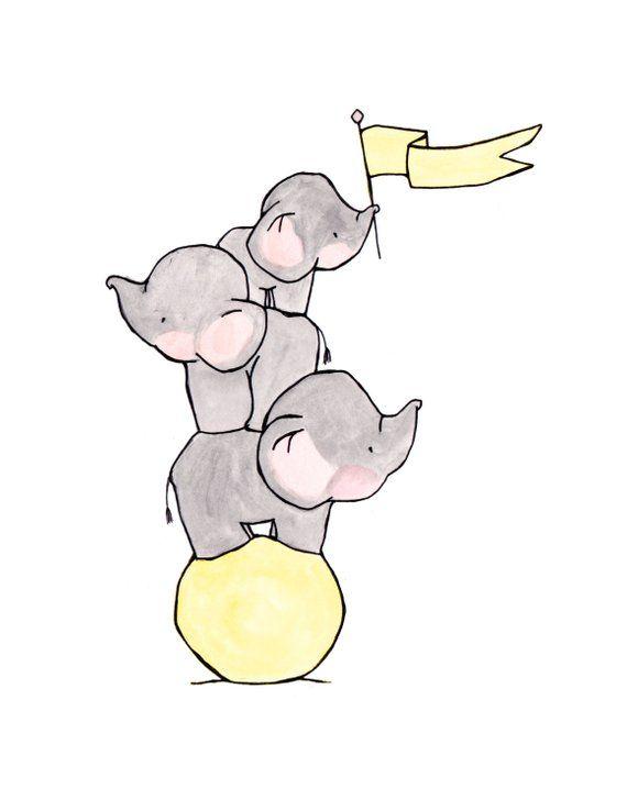 Elefanten drei archivalische Druck | Etsy – Carolin Weber