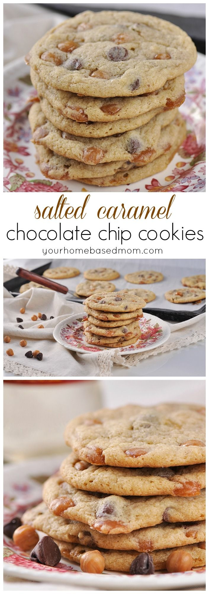 Salted Caramel Chocolate Chip Cookies are delicious and chewy - just the way a cookie should be. #ad(Caramel Chocolate Bars)
