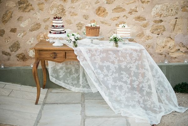 Wedding cakes, cake buffet inspiration, naked red velvet, chocolate cake, lemon raspberry cake   Destination Greek Wedding