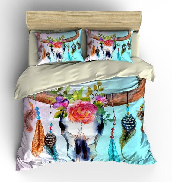Bedding , Southwest Dream Catcher Skull Floral ,Watercolor , Comforter COVER Pillow Shams , Duvet Cover, Duvet Set , Bedding Set