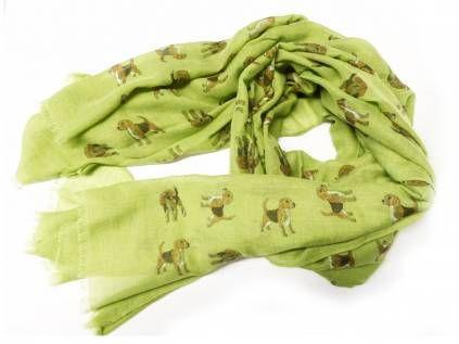 Schals für TierfreundeBaumwoll Fransen-Schal: Beagle - APFELGRÜN