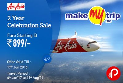 MakeMyTrip is offering AirAsia's 2 year #celebration #sale! Domestic #flight fares on select routes starting at Rs. 899. Offer valid 19th June, Travel Period 4th Jan 2017 to 21st August 2017. Seats are limited and may not be available on all flights, Valid for new purchases only, Fly to Bengaluru, Jaipur, Kochi, New Delhi, Pune and many more destinations, All fares are quoted for single journey.  http://www.paisebachaoindia.com/airasia-2nd-anniversary-sale-fare-starting-rs-899-makemytrip/