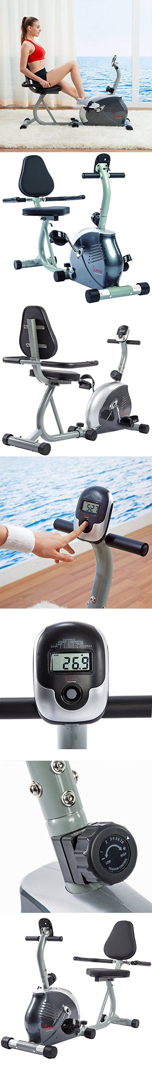 Magnetic Recumbent Bike Cycling Exercise Cardio Health Fitness Training Home Gym Workout Machine Equipment Stationary Bicycle Magnetic Tension Control System Adjustable Frame With Heart Rate Sensors