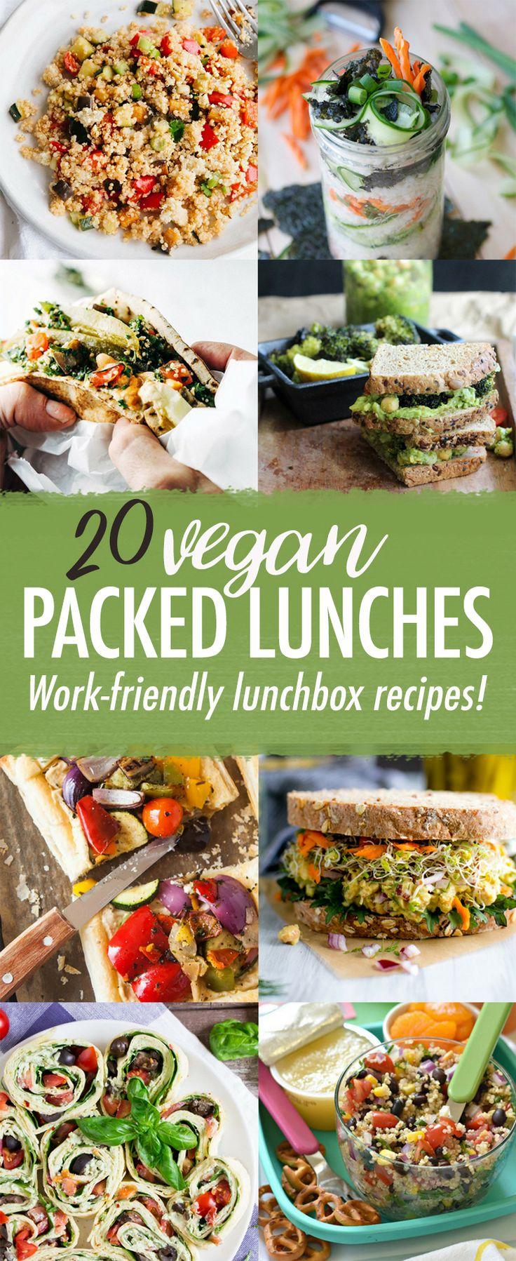 20 Vegan Packed Lunch Recipes via @wallfloweraimee