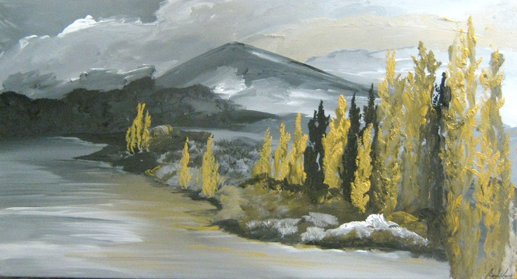 Title: Wanaka Lakeside: Title: Original landscape painting by artist Megan Morris, painted in acrylics onto framed canvas.