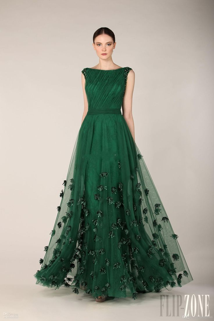 Elegant Zuhair Murad Dress Emerald Green Tulle Long A-Line Cap Sleeve Flowers Evening Dress