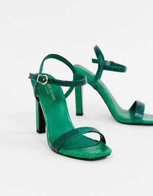 25589cfc513 River Island barely there heeled sandals in green | Accesorize in ...