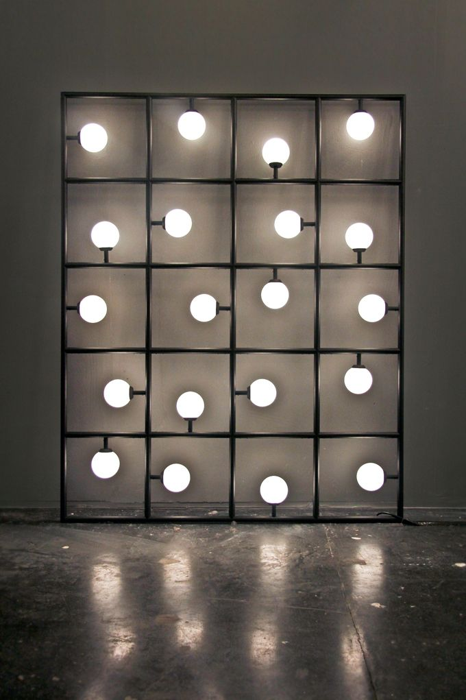 ATELIER ARETI, SQUARES: 20 squares and spherical bulbs lit by LEDs. this is such a cool sculptural object/lighting piece.