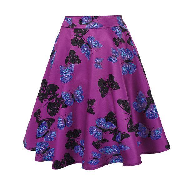 Womens Sexy Midi Skirt Floral Print Black Plus Size Party Office Elegant Summer High Waist Ball Gown Skirt Tutu faldas - C826 Purple, L Great, huh? Visit us