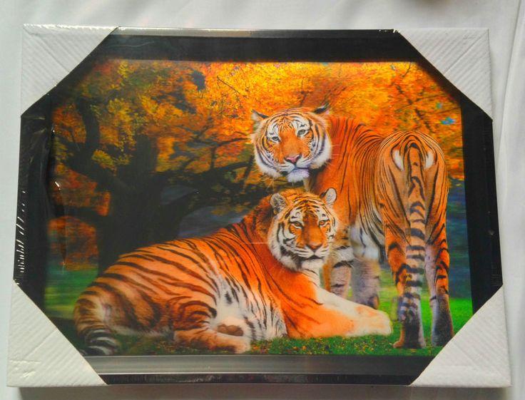 3D Lenticular Framed Picture Art 30x40cm Tigers