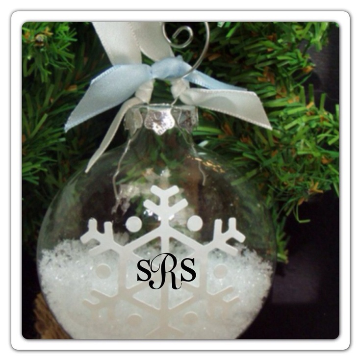 Personalized glass ball snow flake filled christmas