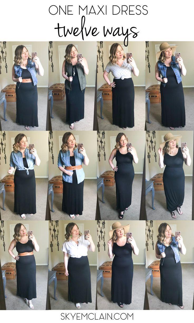 One Maxi Dress Twelve Ways Basic Black Maxi Dress Curvy Girl Outfits Black Maxi Dress Outfit [ 1226 x 736 Pixel ]