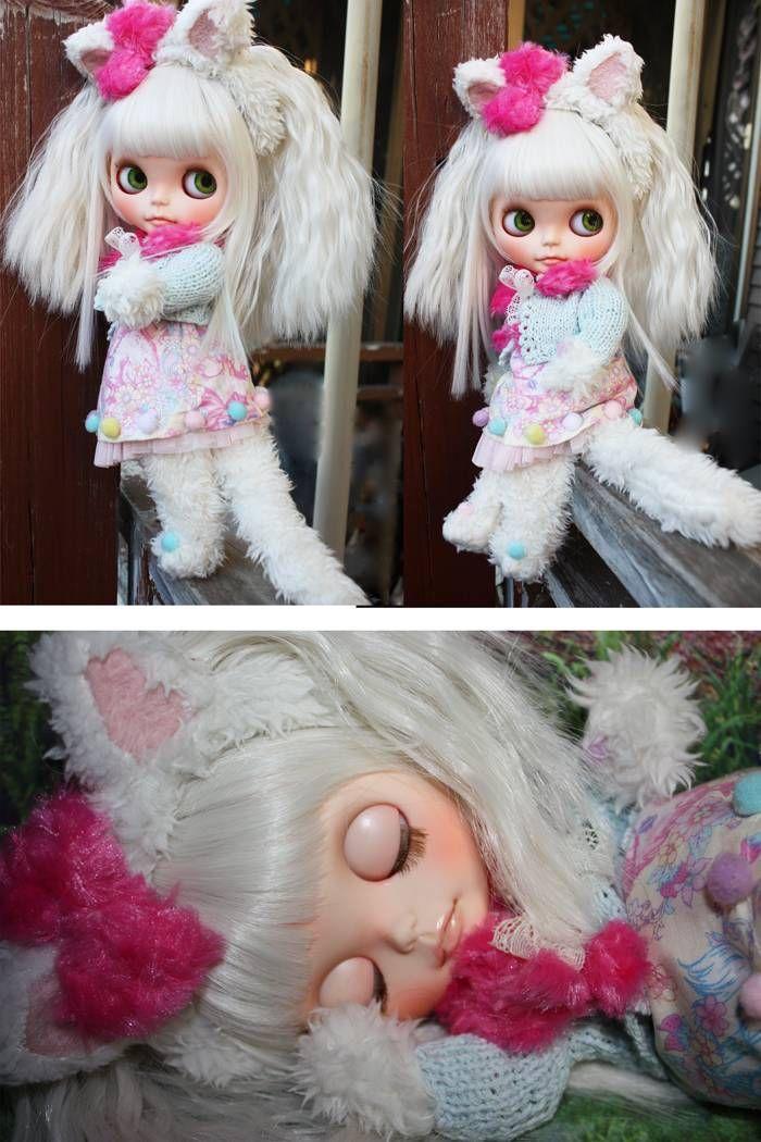 "Custom Blythe ""White Cat""  Buy her here:   #blythe #blythedolls #kawaii #cute #rinkya #japan #collectibles #neoblythe #customblythe"