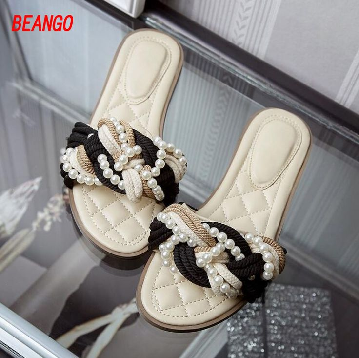 2017 Spring Summer New Arrive Woolen Yarn Knit Flat Slippers String Bead Pearl Fashion Brand Slippers Shoes For Lady fast delivery 9gAqt