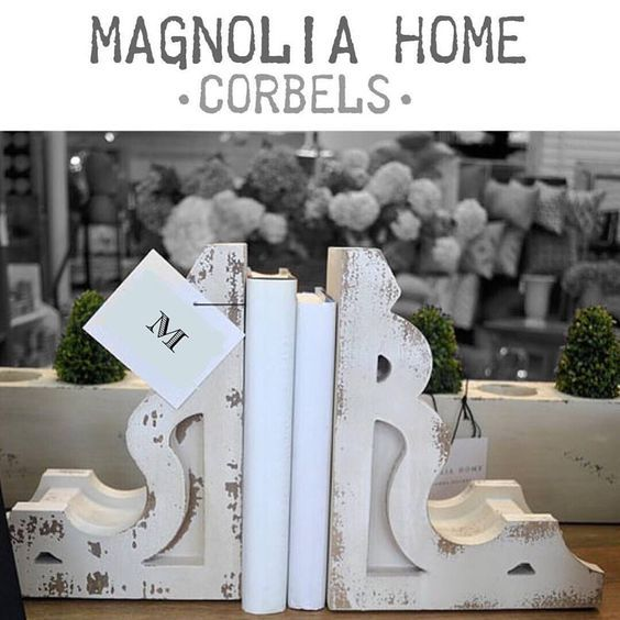 GREAT FIND: my favorite Magnolia Home item...these vintage inspired corbels. Shown here as bookends, but could be used for many things!!! Only $60 for the pair!! That is a great deal. The antique ones are $$$  Click on this picture to purchase #affiliate