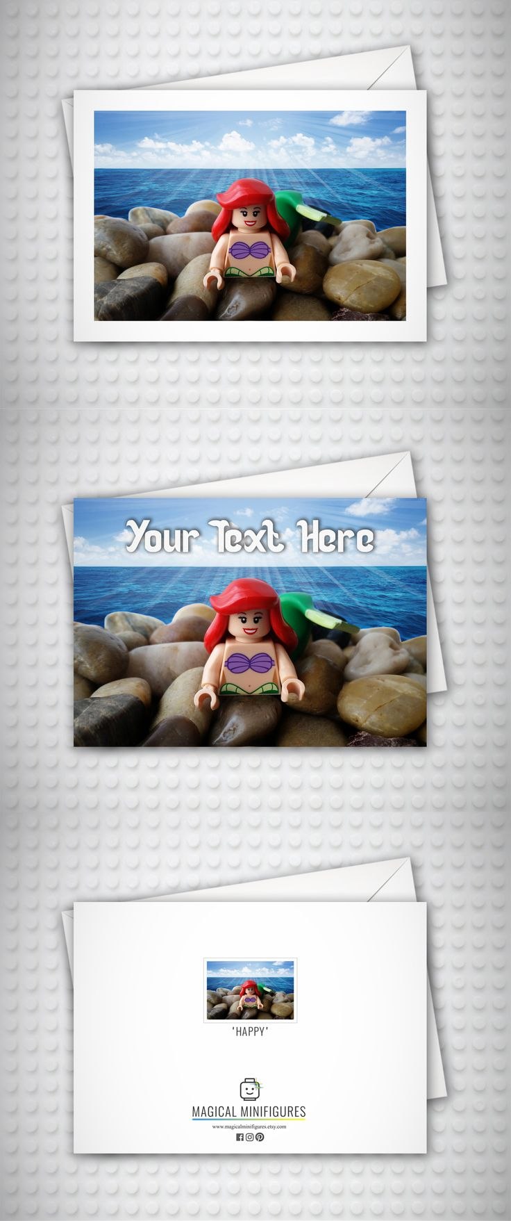 The Little Mermaid - Ariel - Disney - Birthday Card - Beach - Personalised Card - Thank You Card - Mermaid Gift
