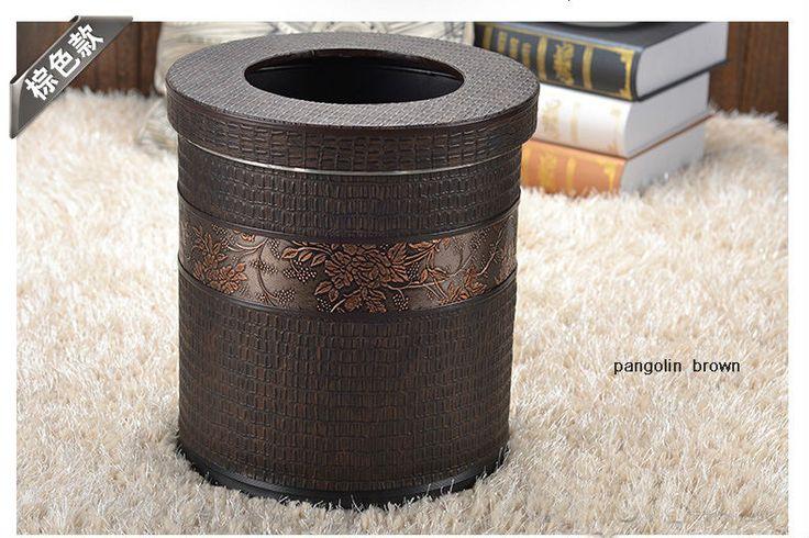 Poubelles pas cher, Achetez directement de China Suppliers:   10l ronde. double- métal couche& cuir poubelle poubelle de déchets poubelle poubelle peut seau de stockage avec couvercle pour home office hôtel