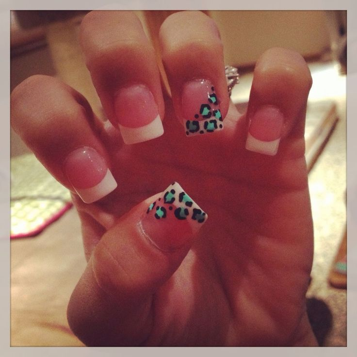 French tip. Leopard cheetah print nails. Cute nails. Simple nail design. Easy nails. A lil too simple for me ;)