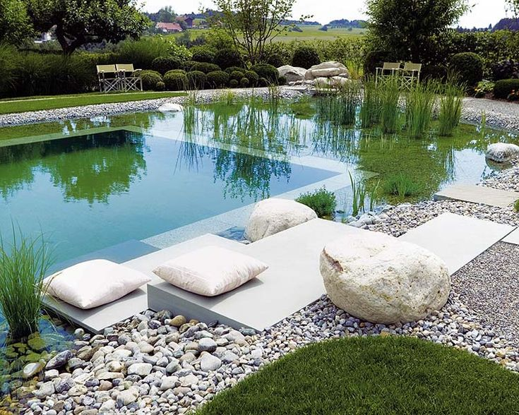 relaxing by a natural pool: Idea, Swimpool, Natural Swim Pools, Naturpool, Gardens, Swimming Pool, Natural Pools, Natural Swimming Pools, Design