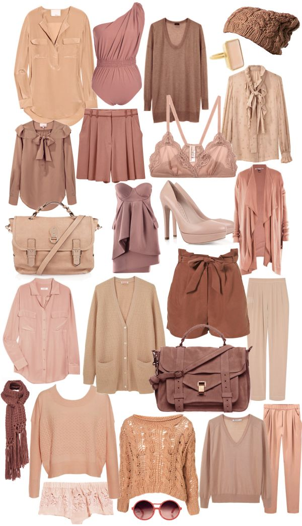 nude palette: dusty pink, blush, pale coral, rose