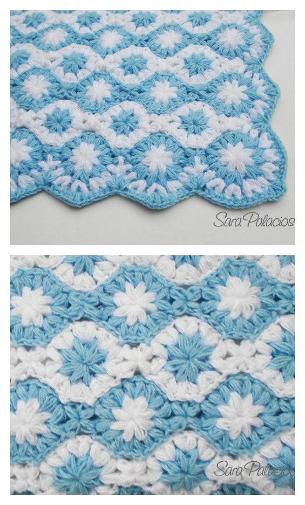 Crochet Puff Flower Blanket Pattern and Free Chart
