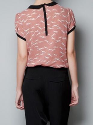 pink puff sleeve turn-down neck dress