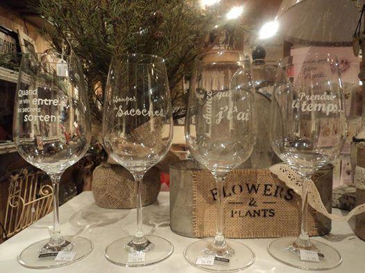 coupe de vin avec citation, idée cadeau, coupe, citation.  Le jardin d'Andrée-Anne, www.lejardin.ca