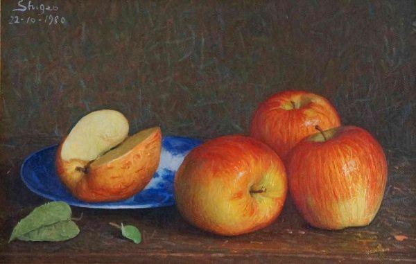 Natureza morta com maçãs, 1980  Shigeo Nishimura (Brasil, 1918-1983)  óleo sobre…                                                                                                                                                                                 Mais