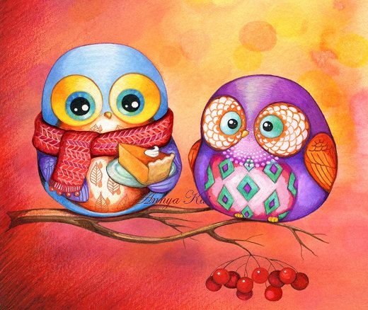 OWL Art - Autumn Colors and Pumpkin Pie - Fall Leaves Red Russet Orange Gold Foliage - NEW Illustration Painting Print by Annya Kai. $18.00, via Etsy.