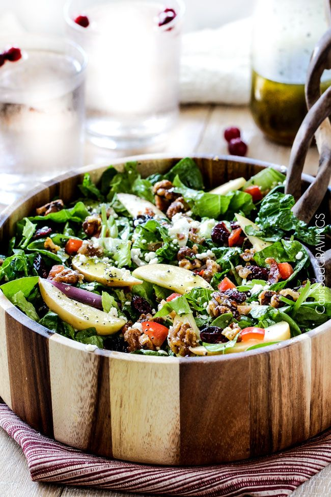 thanksgiving salad: apple cranberry bacon candied walnut salad with apple poppy seed vinaigrette