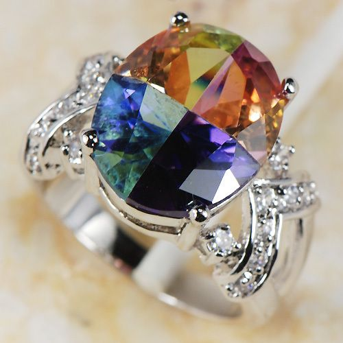 Rainbow Mystic Topaz Crystal Women 925 Sterling Silver Ring R182 Size 6 7 8 9 10 11-in Rings from Jewelry on Aliexpress.com