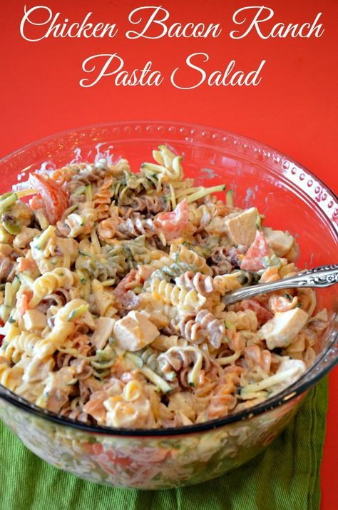 """If you enjoy Outback Ranch dressing, you will do a """"Happy Dance"""" over this Chicken Bacon Ranch Pasta Salad. I used a Copycat Outback Ranch Dressing."""