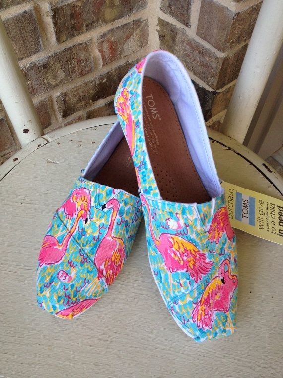 Lilly Pulitzer Peel and Eat TOMS by brushandbow on Etsy, $110.00 This post shows that buy combining two popular brand, Toms & Lilly, it can add value to the product and people will buy simply because of the name/print.
