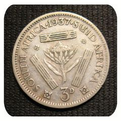 - 1937 3d. Three Pence South African Tickey Coin - King George VI - for R10.00