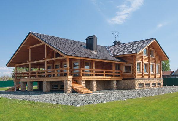 Современный «минималистичный» дом из оцилиндрованного бревна | Дома из оцилиндрованного бревна | Журнал «Деревянные дома»