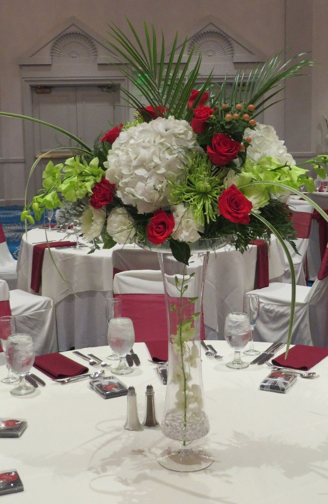 White hydrangea red rose centerpiece wedding pinterest
