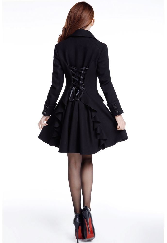 This coat features folded back and buttoned lapels which can be un-buttoned. The front pockets have a top opening with functioning buttons. In the back the coat has two cascading flounces and gathers. The coat is lined, with functioning buttons on the cuffs. Vegan Note. **This coat contains wool.**    Standard size approx. length:34.1 inches; Plus size approx. length:37.2 inches.  MATERIAL:  SHELL:  FLANNEL 50% WOOL 30% RAYON 20% POLYESTER  LINING; TAFFETA, 100% POLYESTER    ...