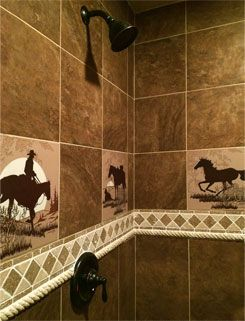 Western, Wildlife, tile ideas, Kitchen backsplash, Bathroom Shower, Bathroon Surround, Shower Surround, Western, Cowboy, Wildlife, Brands, Horses, Texas, Longhorn, Native American, Fly Fishing.