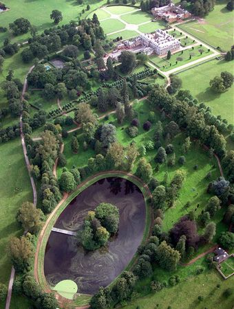 Aerial view of the Diana Memorial Park at Althorp