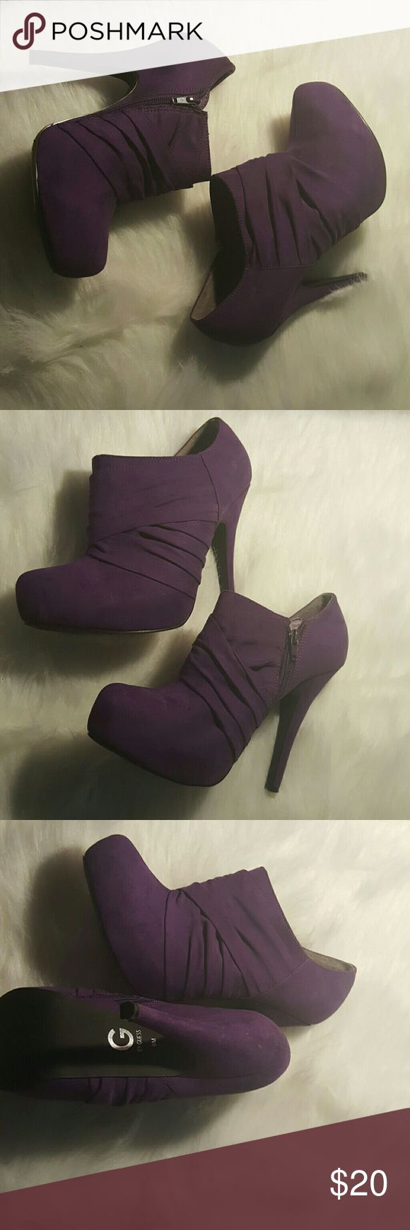 G By Guess Stylish  Purple Ankle Boots G By Guess Purple Ankle Boots || Soft || Comfortable || 5 inch heel || Gently Worn || Have been in Storage so there are some small blemishes|| Overall very good condition G by Guess Shoes Ankle Boots & Booties