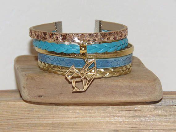 Bracelet Manchette bleu turquoisedoré cuir suédine