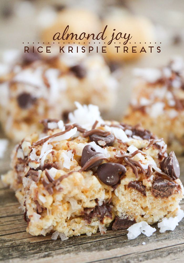 Almond Joy Rice Krispie Treats- delicious spin on the traditional.