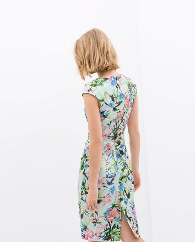 BOAT NECK PRINTED DRESS