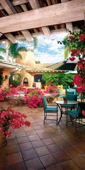 Rancho Valencia resort in Southern California. Love the Bougainvillea (potted) and he Saltillo tile!!!