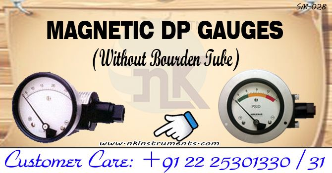 We have Differential Pressure Gauges which works of magnetic coupling principle. There are no bourden tubes or, moments in these DP Gauges, so it becomes more sturdy. Differential Pressure Gauges are very commonly used to measure the difference between inlet pressure and outlet pressure of Filters, Strainers, Blower fans, Heat exchangers or, pumps.