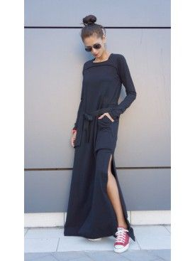 Black Maxi Dress with Side Pockets A03464 #Aakasha #longsleeves #flared #black #stylish #party #maxidress #gorgeous